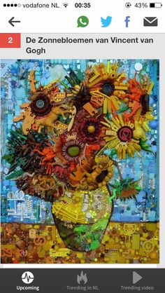 Gemaakt van gevonden voorwerpen, erg mooi. De zonnebloemen van Vincent van Gogh.