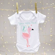 Personalised baby vest 1st birthday pink flamingo first