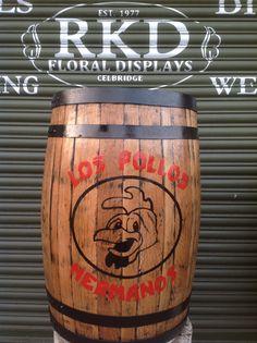 Breaking Bad Los Pollos Hermanos Whiskey Barrel Made By RKD Floral Displays Breaking Bad, Whiskey Barrels, Beer Garden, Floral, Display, Canning, Sisters, Floor Space, Billboard
