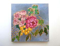 Modern floral bouquet painting original art by jenniferallevato