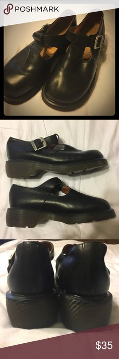 Vintage Doc Marten Chunky Mary Janes These vintage Doc Marten Mary Janes were made in England! UK size 7 is like a US women's size 9, and these are true to size. The soles and insides are in great condition! There are some signs of wear, which are shown in the last few photos. Reasonable offers accepted! Dr. Martens Shoes Platforms