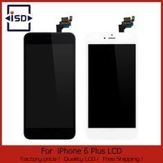 Blanc/Noir Pour iphone 6 Plus 5.5 LCD Affichage Écran Tactile digitizer + bouton Home + appareil-photo Avant L'assemblée Livraison Gratuite