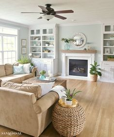 Coastal Familyroom and Fireplace Makeover