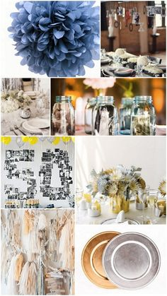 mason jars with photos  silver and blue flowers in tins    10th Anniversary Traditional Gift:    Tin or aluminum. The pliability of tin and aluminum is a symbol of how a successful marriage needs to be flexible and durable and how it can be bent without being broken.