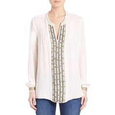 KOBI HALPERIN Ingrid Blouse ($420) ❤ liked on Polyvore featuring tops, blouses, apparel & accessories, ivory, beaded blouse, white long sleeve top, white silk blouse, ivory silk blouse and lace up top