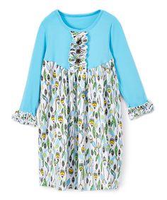 Blue Suncatcher Ruffle A-Line Dress - Infant Toddler & Girls