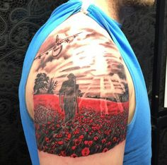 75 Poppy Tattoo Designs For Men – Remembrance Flower Ink Upper Arm Solider Walking In Poppy Field Mens Tattoo
