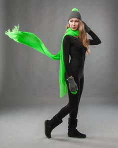 Extra long scarf in neon green lime knitted in mohair by IVETTI, $55.00