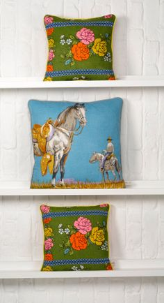 Giant Horse Vintage Fabric Cushion by MuttonandLamb on Etsy, £78.00