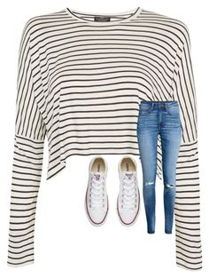 """""""Untitled #5653"""" by laurenatria11 ❤ liked on Polyvore featuring Topshop, H&M and Converse"""