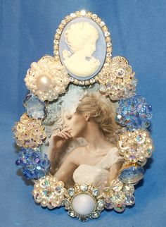 Blue and White Cameo Jeweled Rhinestone Embellished Picture Frame via Etsy