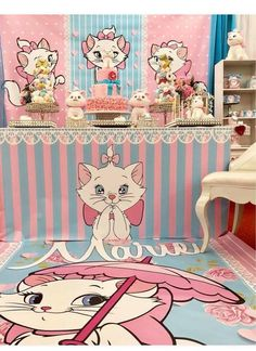 Aristocats Pretty Kitty Birthday Party - Birthday Party Ideas for Kids and Adults Hello Kitty Birthday, Cat Birthday, Aristocats Party, Marie Aristocats, Birthday Party Decorations, Birthday Parties, Pretty Cats, Pretty Kitty, Cat Themed Parties