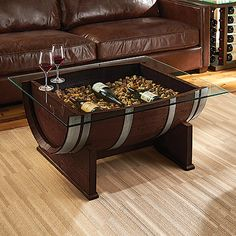 French Oak Barrel Cocktail Table (Dark Finish) at Wine Enthusiast - $995.00