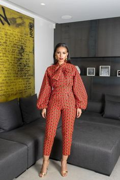 African Print Abombi Jumpsuit - Women's style: Patterns of sustainability African Fashion Designers, African Inspired Fashion, Latest African Fashion Dresses, African Print Fashion, Africa Fashion, Ankara Fashion, Tribal Fashion, African Print Jumpsuit, African Print Dresses