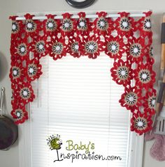 Items similar to Flower Crocheted Valance on Etsy