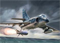 Super Étendard jet firing an Exorcet missile, Falklands War Military Jets, Military Aircraft, Military Weapons, Falklands War, Aircraft Painting, Kitty Hawk, Airplane Art, Model Building Kits, Aircraft Design