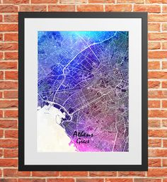 Athens City Map Print Digital Download, Greece, Street Map Art,map print, map poster,print map art travel, City Map Wall Art Map Wall Art, Map Art, Print Map, Poster Prints, Printing Services, Online Printing, Athens City, Travel City, City Maps