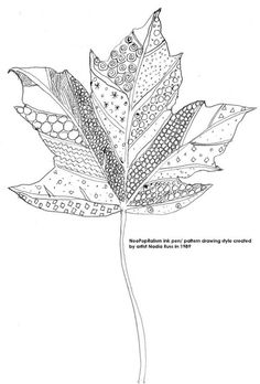 Leaves: NeoPopRealism ink and pen pattern drawing, Grades: 3-5, 6-8, adaptable for high school | Art Lesson Plans: NeoPopRealism ink pen/ pattern drawing for all ages