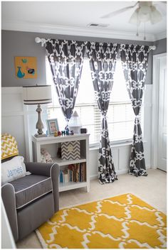 Gray and Yellow Preppy Gender Neutral Nursery. Adoring that yellow & white rug and the grey & white curtains.