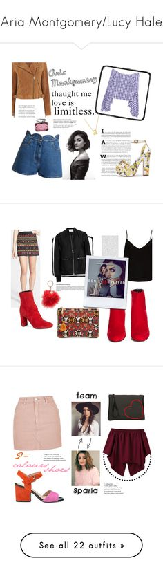 """""""Aria Montgomery/Lucy Hale"""" by spencer-hastings-5 ❤ liked on Polyvore featuring Valentino, Oasis, Jane Basch, Petersyn, Gucci, pll, ariamontgomery, Yves Saint Laurent, Sam Edelman and Raey"""
