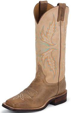 "Justin Bent Rail Women's 13"" Square Toe Cowboy Boots - Arizona Mocha $159.97"