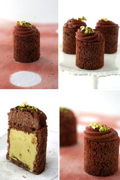 Chocolate And Pistachio Mousse Cakes recipe from Cannelle Et Vanille. Ingredients: hocolate genoise soaked in a kirsch syrup, with pistachio and chocolate mousse, 6 whole eggs, 180 grams sugar, 80 grams . Cake Filling Recipes, Cake Recipes, Dessert Recipes, Mini Desserts, Just Desserts, Delicious Desserts, Mini Cakes, Cupcake Cakes, Entremet Recipe