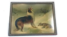 Up for sale is a Vintage THE HOUND By W. Hunt Antique Old Framed Picture Photo Print Wolves Decor. Vintage wear and tear present. There are
