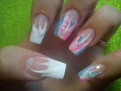 Paznokcie akrylowe krok po kroku. Blękitno różowe paznokcie :)