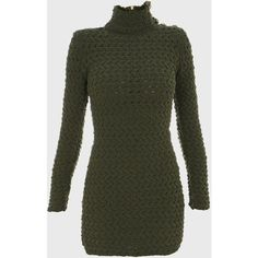 Balmain Green High neck knit mini-dress ($1,575) ❤ liked on Polyvore featuring dresses, green, sexy short dresses, green mini dress, mini dress, long sleeve dress and green long sleeve dress