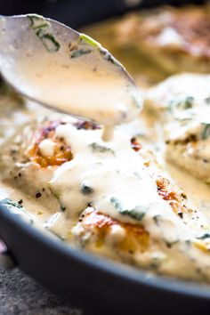 Chicken breasts cooked in a creamy garlic parmesan cream sauce. This quick and flavorful one skillet 20-minute dish is great