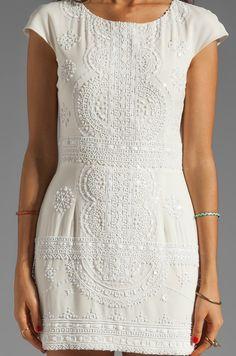 renzo + kai Lola-Lola Silk Cap Sleeve Dress in White/White