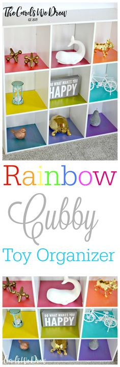 Spruce up the traditional kids toy cubbies with this fun Rainbow Cubby Toy Organizer from The Cards We Drew. Spruce up the traditional kids toy cubbies with this fun Rainbow Cubby Toy Organizer from The Cards We Drew. Rainbow Bedroom, Rainbow Nursery, Rainbow Room Kids, Traditional Kids Toys, Playroom Organization, Organizing Toys, Playroom Ideas, Organizing Ideas, Unicorn Bedroom
