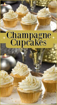 Jan 2020 - A little champagne in the batter makes these cupcakes great for serving on New Year's Eve. The large sugar crystals on top makes them fancy and festive too! New Year's Cupcakes, Cupcake Cakes, Sparkly Cupcakes, Cupcakes For Bridal Shower, Holiday Cupcakes, Birthday Cupcakes, New Year's Desserts, Christmas Desserts, Cupcakes Au Champagne