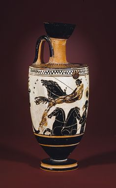 """""""This vessel, known as a bell-krater, was used for mixing wine and water at the Greek symposium.""""  """"The scene illustrates one episode from the myth of Persephone's abduction by Hades recounted in the sixth-century B.C. Homeric Hymn to Demeter."""""""