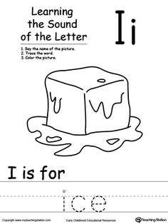 Learning Beginning Letter Sound: I: Learn the sound of the letter I by saying the name of the picture and then tracing the word. This printable worksheet is perfect for children to associate the alphabet letters with sounds.