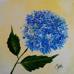 Blue Hydrangea Painting by Elisa Gabrielli - Blue Hydrangea Fine Art Prints and Posters for Sale