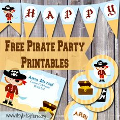 Free Printable Pirate Party Supplies Free Printable Pirate Party Supplies - Itsy Bitsy Fun - Free Printables for all occasions Pirate Party Invitations, Invitation Card Party, Invites, Invitation Templates, Birthday Invitations, Wedding Invitations, Pirate Birthday, 3rd Birthday Parties, Mermaid Birthday