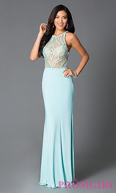 Aqua Long Prom Dress With High Neck Beaded Bodice at PromGirl.com