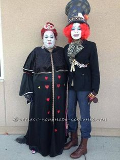 This is my daughter and  i am the queen of hearts and she is the mad hatter, i bought a blk dress and put red felt hearts on it, iglued red ribbon on...