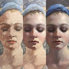 Painting process by David Gray Digital Painting Tutorials, Art Tutorials, Painting Process, Figure Painting, Portrait Art, Portraits, David Gray, Classical Art, Art Studies