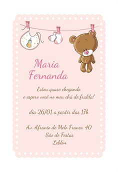 Convite Ursinho Varal. MobyPrints - Seus convites a um clique de você.