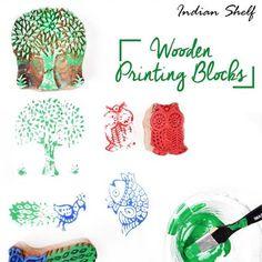 Wooden Printing Blocks Available Online Only on https://indianshelf.com #indianshelf #woodenprintingblocks