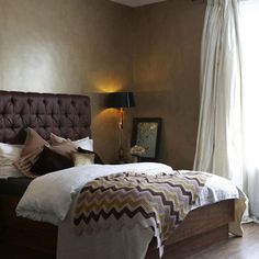 Bedroom button upholstered bed headboard light table lamps assorted cushions zig zag pattered bedspread throw silk curtains real home L etc Pub Orig Dream Bedroom, Home Bedroom, Master Bedroom, Bedroom Decor, Bedrooms, Bedroom Ideas, Le Cosy, Living Etc, Living Room