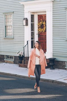 Styling a Pink Coat for Valentine's Day | Jess Kirby in the Paper Crown Cologne Jacket and Paige Skinny Jeans
