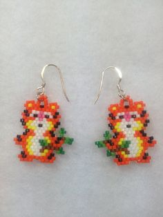 Tiger Brick Stitch Earrings by BeadingBeeCreations on Etsy, $12.00