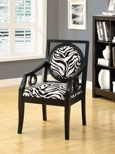 Monarch Cappuccino Solid Wood Accent Chair with Zebra Fabric more: http://foter.com/zebra-chairs/
