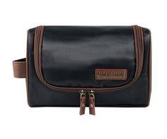 Jacki Design Men's Outdoor Travel Toiletry Bag with Hanger - Black/Brown