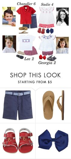 """""""4th of July- The Garcias"""" by my-preppy-family ❤ liked on Polyvore featuring Ralph Lauren, J.Crew, Salt Water Sandals and thegarcias"""