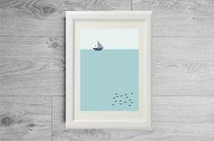Minimalist print ocean - Scandinavian print sea ocean boat fish - Scandinavian minimalist poster - Marine landscape - Modern art print