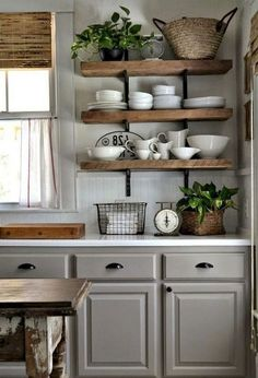 Inspiring Rustic Country Kitchen Ideas To Renew Your Ordinary Kitchen 09 38 Dreamiest Farmhouse Kitchen Decor and Design Ideas to Fuel Your Remodel Farmhouse Kitchen Cabinets, Farmhouse Style Kitchen, Modern Farmhouse Kitchens, Kitchen Cabinet Design, Home Decor Kitchen, Kitchen Sink, Gray Kitchens, Open Kitchen, Diy Kitchen